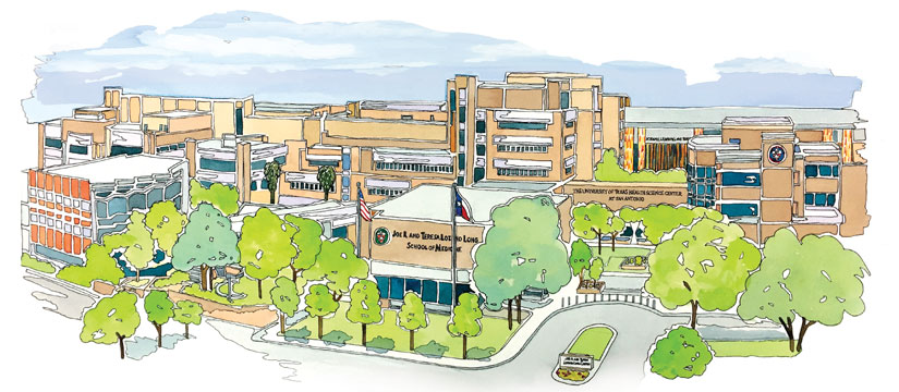Watercolor image of Health Science Center campus