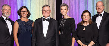 Presbyterian Church of San Antonio; Morgan Fuller; Ronald and Karen Herrmann, President's Gala 2019 honorees; and Mary Henrich and William L. Henrich, M.D., MACP, UT Health president, at the gala in September 2019.