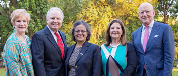 Rebecca and Bill Reed (from left) visit with Dr. Sudha Seshadri of the Biggs Institute, Mary Henrich and William L. Henrich, M.D., MACP, president of UT Health San Antonio.