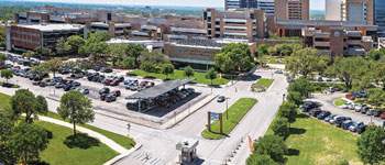 50 Years of Medicine, aerial view of UT Health San Antonio