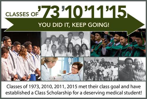 Classes of 1973, 2010, 2011, 2015 met their class goal