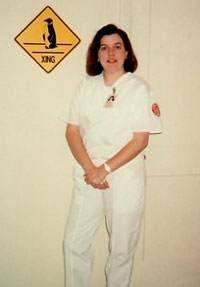 Kelly Balser in her nursing uniform